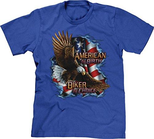 Blittzen Mens T-shirt American Biker by Choice, 2XL, Royal Blue