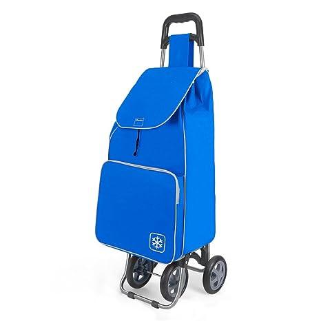 Metaltex Aloe - Carro de Compra con Bolsa Isoterma y 4 Ruedas, 48 Litros, Azul