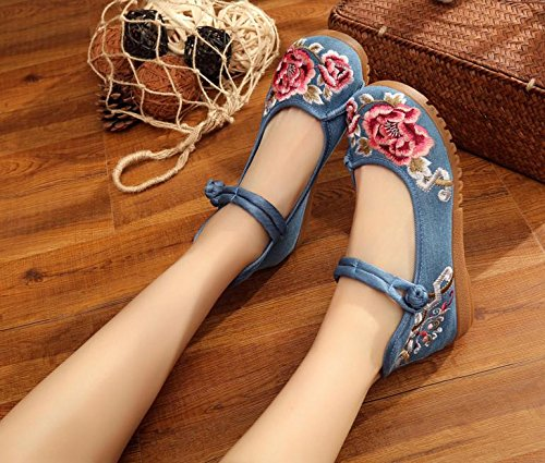WXT Zapatos bordados, lenguado de tendón, estilo étnico, zapatos de tela femenina, moda, cómodo, casual Blue