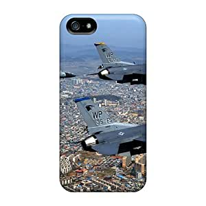 Fashionable Style Case Cover Skin For Iphone 5/5s- F 16 Fighting Falcons Over City