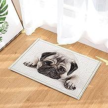 KOTOM Cute Animals Decor, Sadly Pug Puppy Dog Lying Down Bath Rugs, Non-Slip Doormat Floor Entryways Indoor Front Door Mat, Kids Bath Mat, 15.7x23.6in, Bathroom Accessories