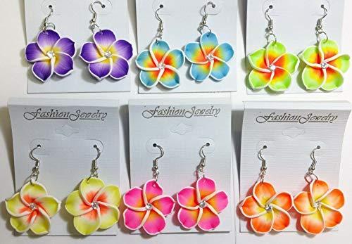 Fimo Plumeria Earrings - LOT 6 Pair Earring Hawaiian Flower Plumeria Costume Jewelry FIMO Clay Luau Party IDE-401