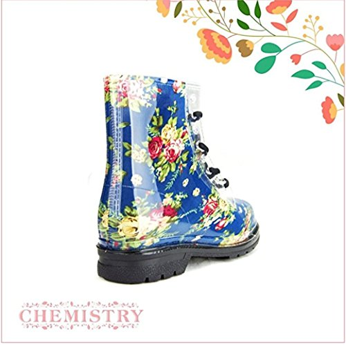 Chemistry Womens Ankle Flat Blue Rose Flower Transparent Clear Jelly Martin Rain Boots HXSJiUq