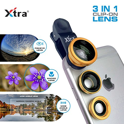 XTRA 3 in 1 Clip-On 180° Fisheye Lens + 0.67X Wide Angle + 10X Macro Camera Lens Kit for iPhone 7/7+/Se/6s/6/6 Plus, iPad, Samsung Galaxy S7/S6/Edge, Note 5/4, LG G5, Moto X/G, Nexus & Android Phones (Jelly Lens Iphone Filter compare prices)