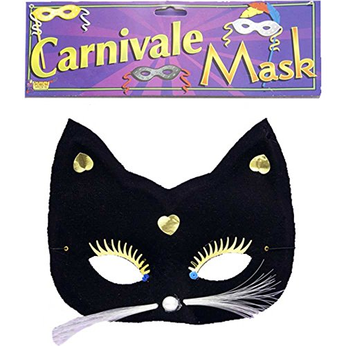 Cats Broadway Costumes (Forum Novelties 57345 Half Cat with Whiskers Black Mask)