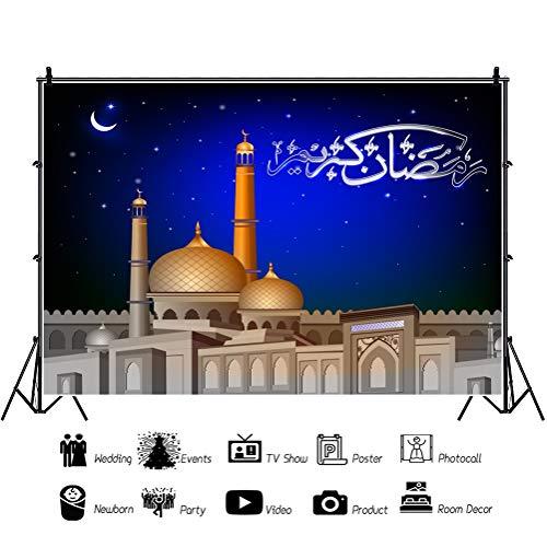 Baocicco 5x4ft Arab Eid Backdrop Eid Mubarak Backdrop Mosque Building Crescent Moon Starry Sky Photography Background Arabian Nights Fairy Tale Muslim Children Adults Photo Studio Shoot -