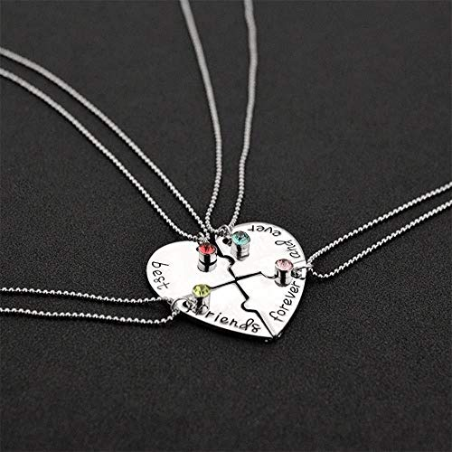 Creative Best Friends forever And Ever Heart Shape Four Parts Splice Necklace