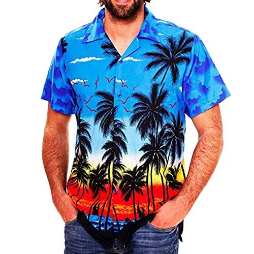Fashion Hawaiian Print Shirt Men Casual Button Beach Short Sleeve Funny Top ()