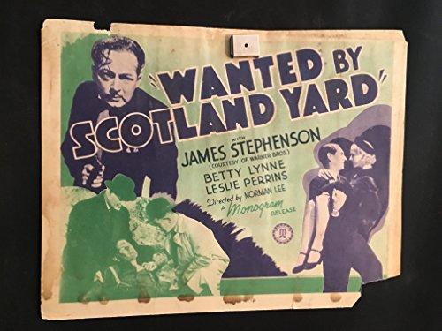 - Wanted By Scotland Yard 1939 Original Vintage Title Lobby Card Movie Poster, Crime, Noir, James Stephenson, Jail, Sherlock Holmes