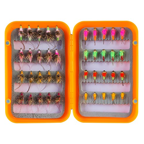 Piscifun 40pcs Wet Flies Fly Fishing Lures Bass Salmon Trouts Sinking Flies Assortment with Fly Box 10#,12#,14#,16# Hook (Light Special Wader)