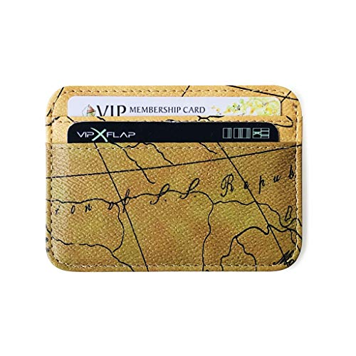 Ganenn Vintage Slim Map Style Front Pocket Frosted Fabric Card RFID Blocking Leather Wallets for Men Women (Brown)