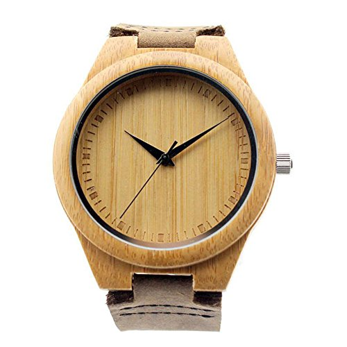 Ideashop New Vosicar Retro Leather Fashion Bamboo Wooden Watch Japan Movement Quartz With Genuine Cowhide Leather Band Casual Watches Creative Gifts For Men