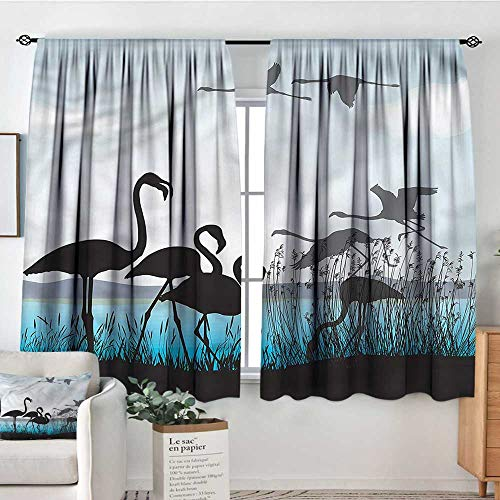 (RenteriaDecor Flamingo,Boys Bedroom Backout Curtains River Reed Bed Animals 52