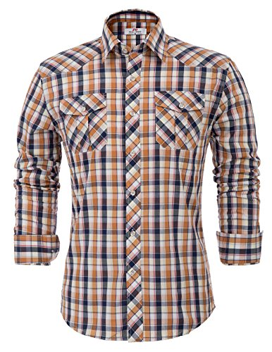 Yellow Windowpane - Men's Standard-Fit Long-Sleeve Two-Color Windowpane Shirt(S,Yellow)