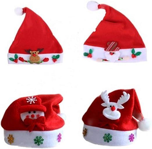 Hemore Rojo Navidad Sombrero Navidad Ornamento Copo de Nieve Hombre Viejo Ciervo Modelo 2 Pack: Amazon.es: Hogar