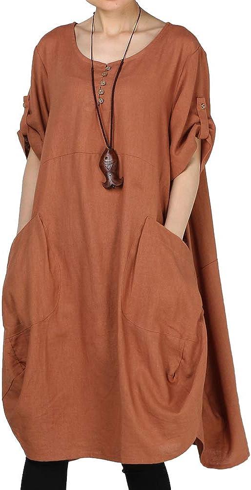 LaovanIn Women's Plus Size Tunic Dress Summer Cotton Linen T Shirt Knee-Length Dresses