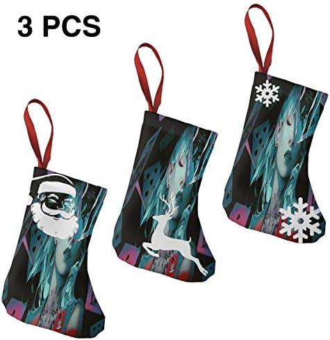 クリスマスの日の靴下 (ソックス3個)クリスマスデコレーションソックス ウォーウイングスポーカーガール クリスマス、ハロウィン 家庭用、ショッピングモール用、お祝いの雰囲気を加える 人気を高める、販売、プロモーション、年次式
