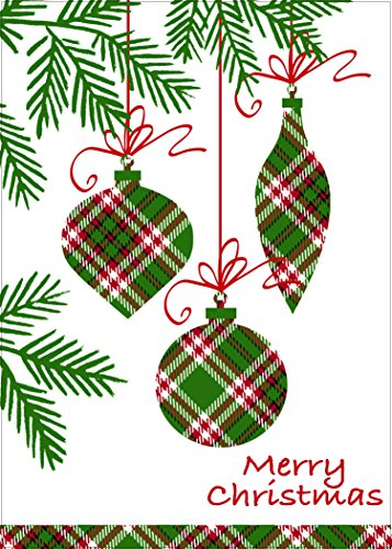 "Christmas Holiday Plaid Hanging Ornaments Design Festive Greeting Cards, Green, Red, White, 30 Count, 5"" x 7"""