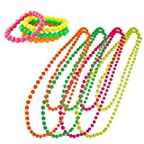 Neon Plastic Beads Necklace Bracelets 80s Fancy Dress Disco Hen Night Party Costume Accessories (Necklace+Bracelet)