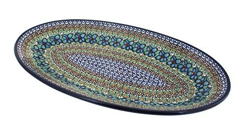 Polish Pottery Mardi Gras Large Oval Platter (Blue Large Oval Platter)