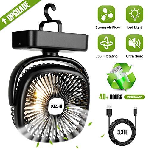 Tent Fan Light - KeShi LED Camping Lantern with Tent Fan - 4400 mAh Battery Powered Mini Desk Fan - USB Rechargeable Fan - for Camping, Hiking, Fishing, Hurricane, Emergency, Outage(Battery Included)