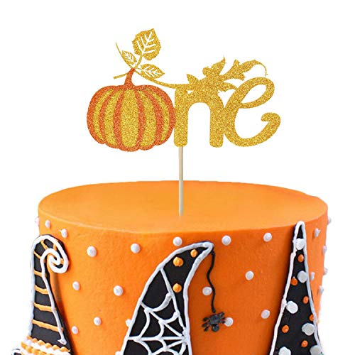 Pumpkin One Cake Topper 1st First Birthday Glitter