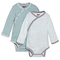 SkipHop Baby Boys' Petite Triangles Side-Snap Long Sleeve Bodysuit, Blue, New...