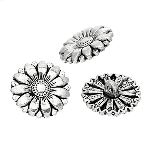 Buttons Flower Metal (PEPPERLONELY Brand 10PC Antiqued Silver Flower Scrapbooking Metal Sewing Buttons with Shank 18mm (6/8 Inch))