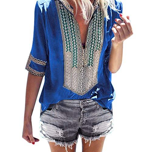 (Dainzuy Ladies Sexy Casual Tops,Women Half Sleeve Deep V-Neck Print Loose Tops Blouse T-Shirt)