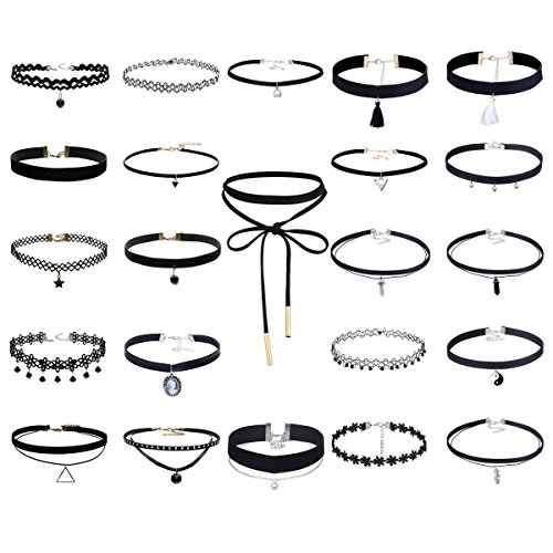floweralight-23pcs-multiple-collar-chokers-necklace-length-adjustable-gothic-for-women