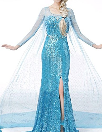 [hqclothingbox Woman's Elegent Princess Frozen Dress Costume] (Tv Commercial Costumes Halloween)