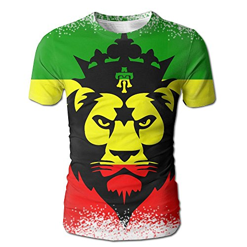 Men's RASTA FLAG LION HEAD T Shirt Fashion Short Sleeve Tee - Website Online Malaysia