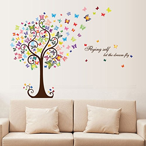 Smartcoco DIY Creative Romantic Butterfly Tree Wall Sticker Removable Wall Decals Kid Room Living Room Bedroom Decors ()