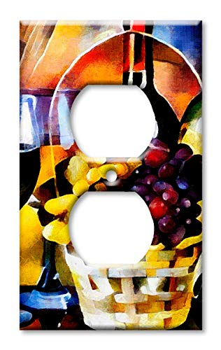 Art Plates Brand Electrical Outlet Cover Wall/Switch Plate - Colorful Wine Basket