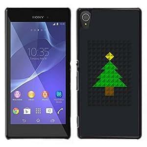 // PHONE CASE GIFT // Duro Estuche protector PC Cáscara Plástico Carcasa Funda Hard Protective Case for Sony Xperia T3 / Tree Christmas Polygon Black Metal /