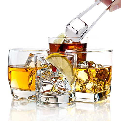 Large-ZJing Whiskey Stones Stainless Steel Ice Cubes - Reusable Whisky Chilling Rocks - Set of 8 with Tongs & Freezer Storage Tray for Beer Wine Cooler by Large-ZJing