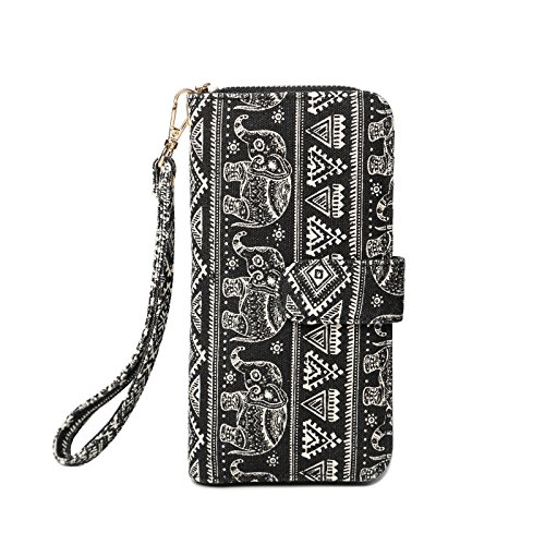 Style Womens Wallets Canvas Purse RFID Blocking Wallet Card Holder Clutch Bags Long Wallets with Wristlet-Elephant Pattern Black (Lam Card)