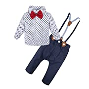 BIG ELEPHANT 2 Pieces Baby Boys Long Sleeve Star Print Shirt Suspender Pant Set Star Q22-90 6-12 Months