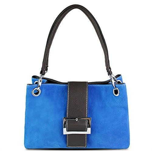 Small Blue Suede Bag Strap Double Leather Genuine Bucket Slouch Hobo Womens Italian Shoulder Twin gwHHp