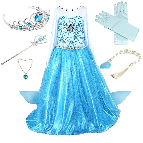 Anbelarui Girls Princess Deluxe Fancy Costume Snowflakes Flower Print Dress + accessories Set (4-5 Years, 01 Dress&accessories Set) Snowflake Fancy Dress