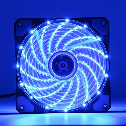 2 Pack Blue 120mm Case Fan Cooling PC and Light Up Computer Case with Cool Look, Long Life Bearing with DC 15 LED Illuminating PC Case. Quiet Durable Fans Enhance Performance of Tower by VINIUVI (Image #5)