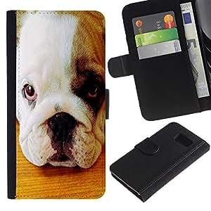 EuroCase - Samsung Galaxy S6 SM-G920 - American pit bull terrier bulldog puppy - Cuero PU Delgado caso cubierta Shell Armor Funda Case Cover