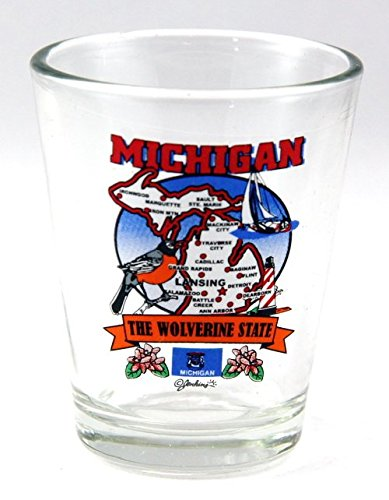 Michigan State Elements Map Shot Glass (Michigan Shot Glass)