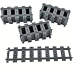 18X Straight Trains Rail Non-Powered Rail Compatible for Lego Train Tracks Track Railroad Construction Toy