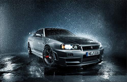 Innerwallz Rain Nissan Skyline R34 GTR Front Silver Color Drops Headlights Wall Art, Pop Art, Poster, Art Prints | Rare Posters