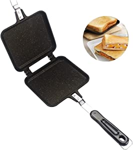 Double Side Frying Pan, Home Kitchen Non-stick Bread Frying Pan Barbecue Plate, Sandwich Toaster Grill, Cooks Toasties, Breakfast