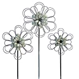 VIP Home & Garden 3 Pc Galvanized Metal Style Flower Shape Garden Stakes -Rustic Country Farmhouse