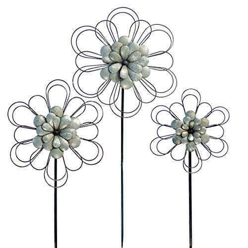 VIP Home U0026 Garden 3 Pc Galvanized Metal Style Flower Shape Garden Stakes   Rustic Country