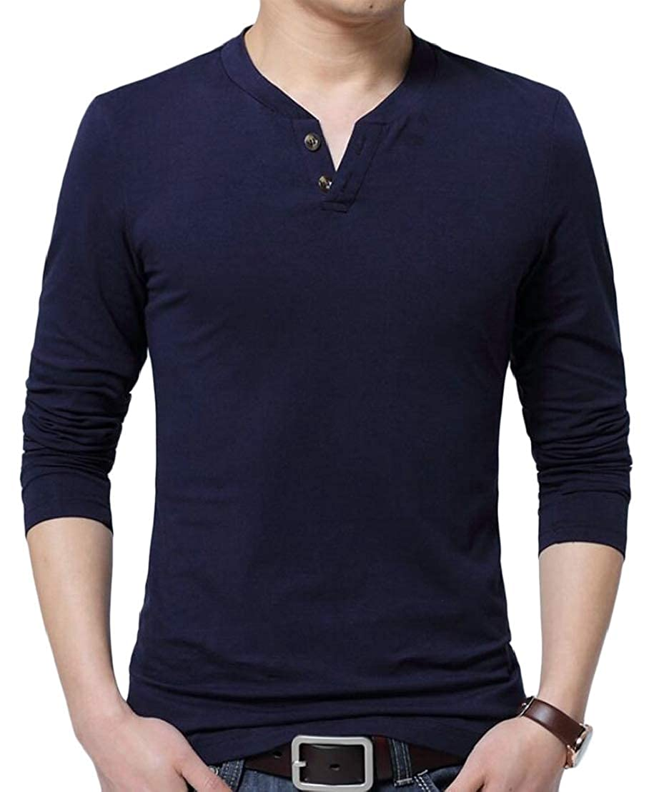 Wofupowga Mens Stretch Thin Polo Shirts ShirtsLoose Buttons Top Tee T-Shirts Navy L