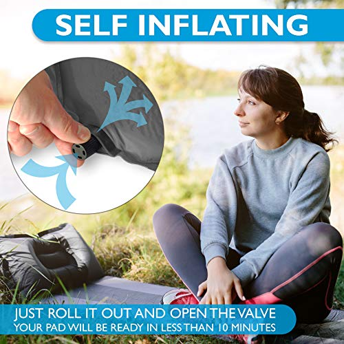 Foxelli Sleeping Pad - Comfortable & Compact Self Inflating Sleeping Mat with Pillow, Lightweight, Moisture-Proof Camping Pad, Perfect for Hiking & Backpacking